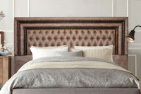 Headboard, Diamond Button Headboard Buffalo Suede Kilimanjaro