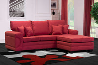 red l shape couch