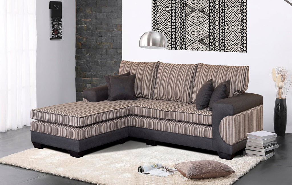 Casablanca Black striped corner couch or L shape couch