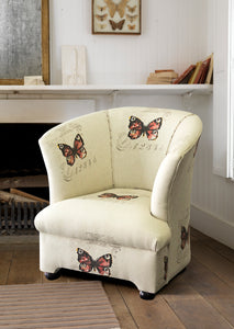 Tub Chair, Haley Printed Linen Butterfly