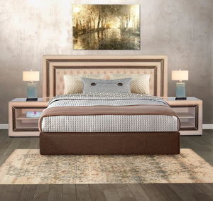 3 PIECE BEDROOM SUITE COMBO - DIAMOND BUTTON HEADBOARD & PEDESTALS