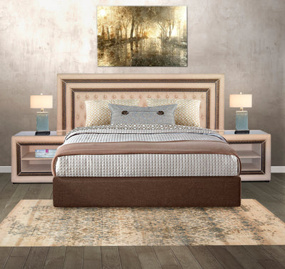 Diamond headboard pedestal three Piece Combo