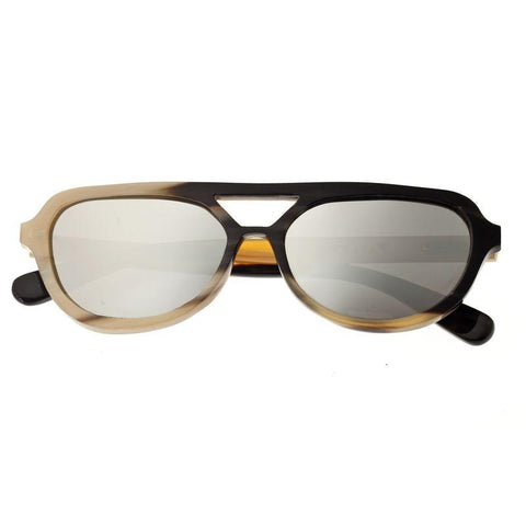 Bertha Brittany Buffalo-Horn Polarized Sunglasses - Black-Tan/Silver BRSBR005M