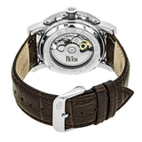 Reign Stavros Automatic Skeleton Leather-Band Watch - Silver/Dark Brown REIRN3701