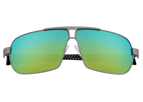 Breed Sagittarius Titanium Polarized Sunglasses - Silver/Gold-Green BSG032SR