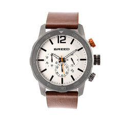 Breed Manuel Chronograph Leather-Band Watch w/Date - Gunmetal/Silver