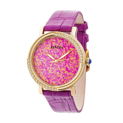Bertha Courtney Opal Dial Leather-Band Watch - Hot Pink BTHBR7903