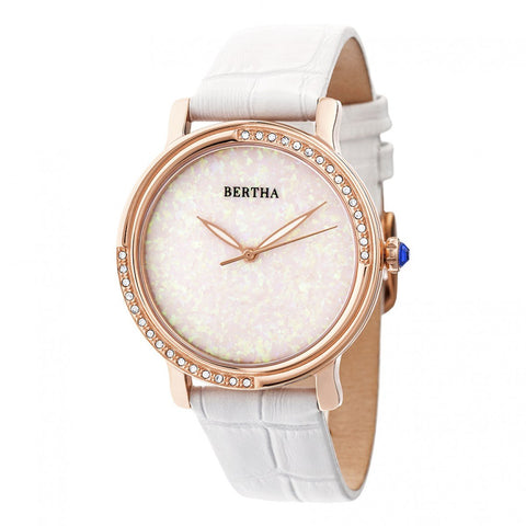 Bertha Courtney Opal Dial Leather-Band Watch - White