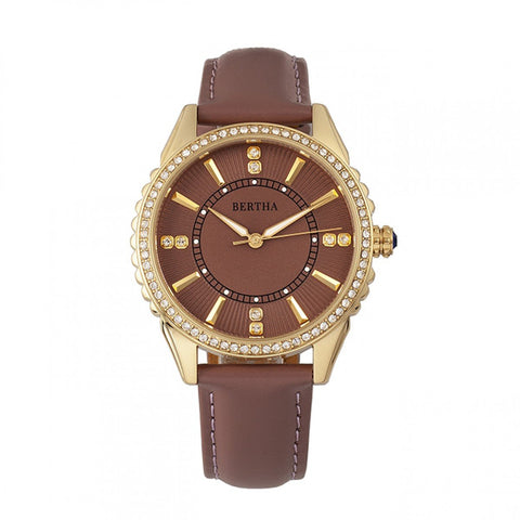 Bertha Clara Leather-Band Watch - Mauve