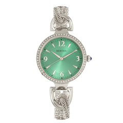 Bertha Sarah Chain-Link Watch w/Hanging Charm - Silver/Emerald