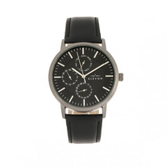 Elevon Lear Leather-Band Watch w/Day/Date - Black/Gunmetal