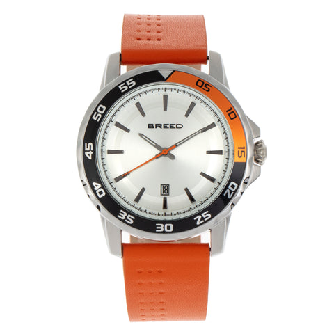 Breed Revolution Leather-Band Watch w/Date - Orange BRD8302