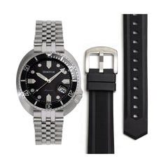 Heritor Automatic Matador Box Set with Interchangable Bands and Date Display - Black/Silver