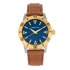 Morphic M85 Series Canvas-Overlaid Leather-Band Watch - Gold/Brown