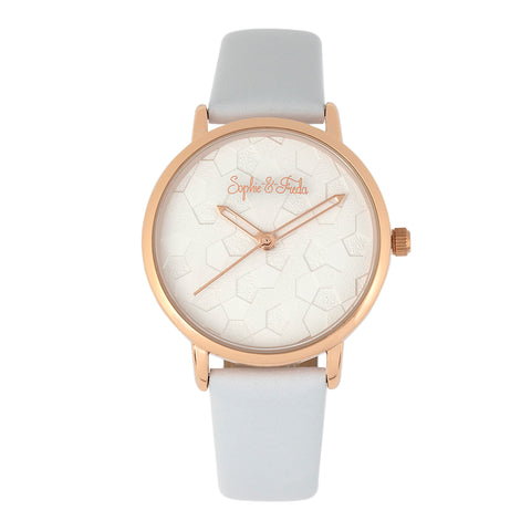 Sophie & Freda Breckenridge Leather-Band Watch - Rose Gold/White SAFSF4706