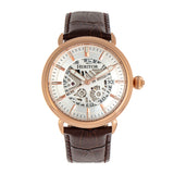 Heritor Automatic Mattias Leather-Band Watch w/Date - Rose Gold/Silver HERHR8405