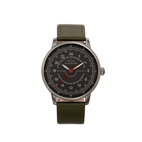 Elevon Gauge Leather-Band Watch - Gunmetal/Olive ELE122-5