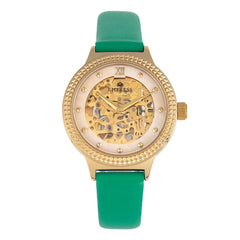 Empress Alice Automatic MOP Skeleton Dial Leather-Band Watch - Green