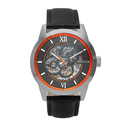 Heritor Automatic Jonas Leather-Band Skeleton Watch - Silver/Orange - HERHR9502 HERHR9502