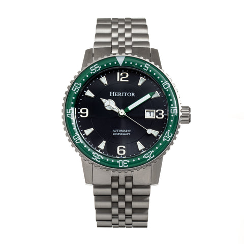 Heritor Automatic Dominic Bracelet Watch w/Date - Green/Black HERHR9803