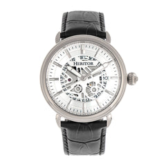 Heritor Automatic Mattias Leather-Band Watch w/Date - Silver