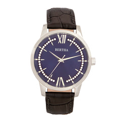Bertha Prudence Leather-Band Watch - Grey