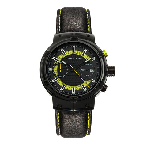 Morphic M91 Series Chronograph Leather-Band Watch w/Date - Black/Yellow - MPH9106 MPH9106