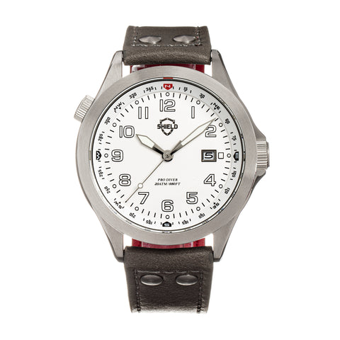 Shield Palau Leather-Band Men's Diver Watch w/Date - Silver/Grey SLDSH104-2