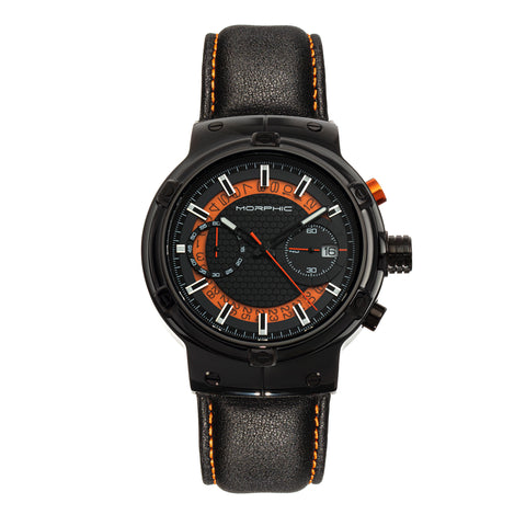 Morphic M91 Series Chronograph Leather-Band Watch w/Date - Black/Orange - MPH9105 MPH9105