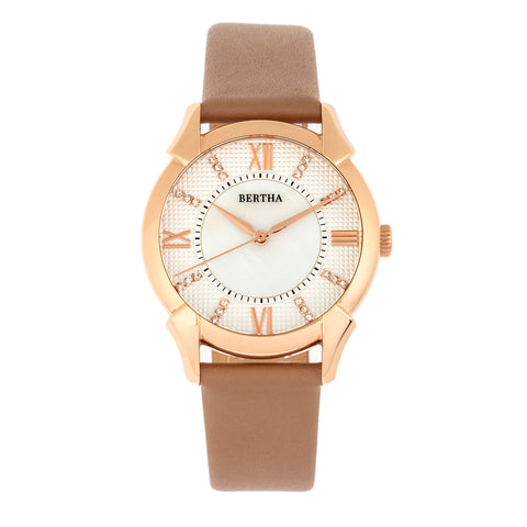 Bertha Ida Mother-of-Pearl Leather-Band Watch - Beige - BTHBS1205 BTHBS1205
