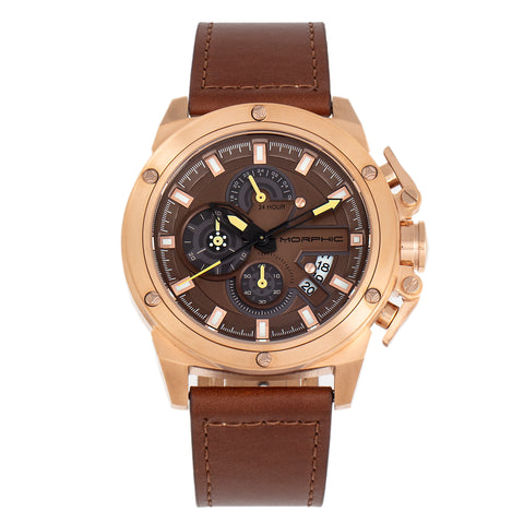 Morphic M81 Series Chronograph Leather-Band Watch w/Date - Brown/Rose Gold  - MPH8104 MPH8104