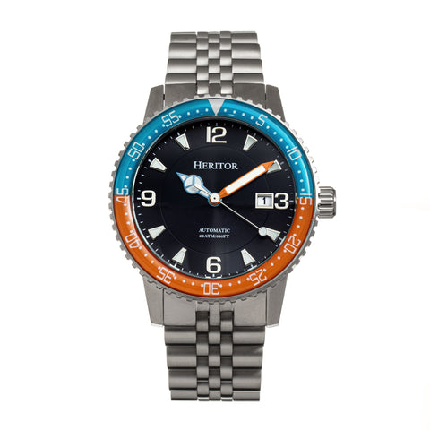 Heritor Automatic Dominic Bracelet Watch w/Date - Light Blue&Orange/Black HERHR9805