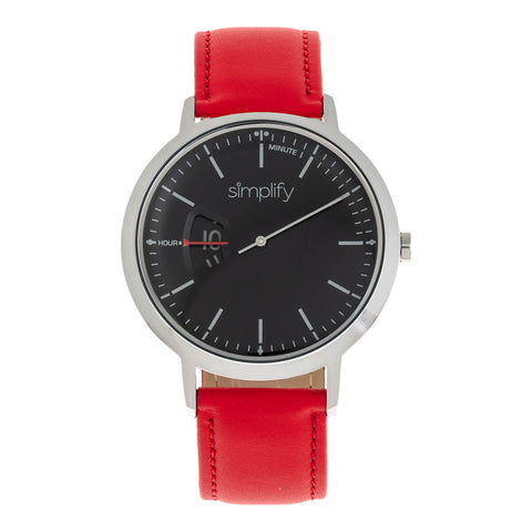 Simplify The 6500 Leather-Band Watch - Red/Black SIM6503