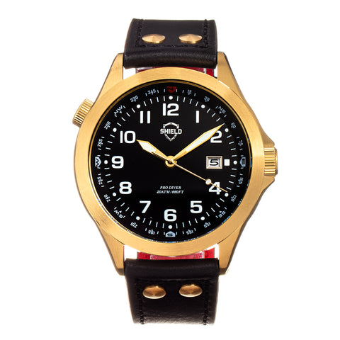Shield Palau Leather-Band Men's Diver Watch w/Date - Gold/Black SLDSH104-5