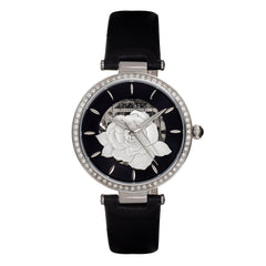 Empress Anne Automatic Semi-Skeleton Leather-Band Watch - Black