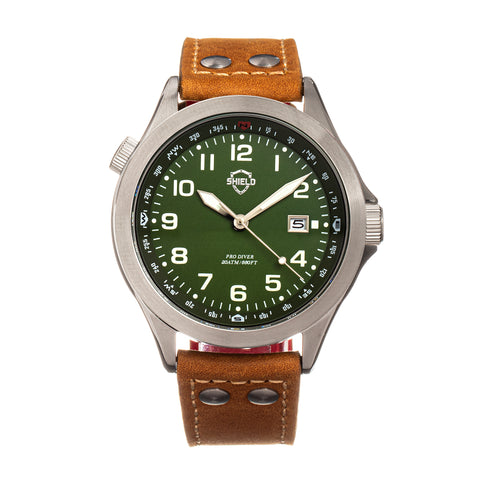 Shield Palau Leather-Band Men's Diver Watch w/Date - Silver/Green SLDSH104-4