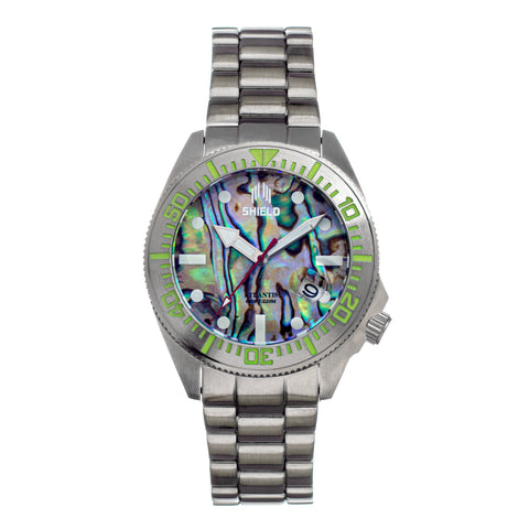 Shield Atlantis Abalone Bracelet Watch w/Date - Silver SLDSH108-1