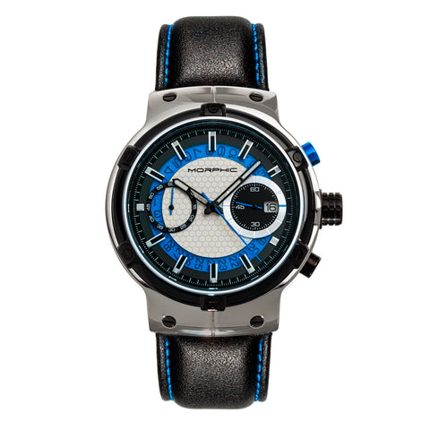 Morphic M91 Series Chronograph Leather-Band Watch w/Date - Silver/Blue - MPH9103 MPH9103