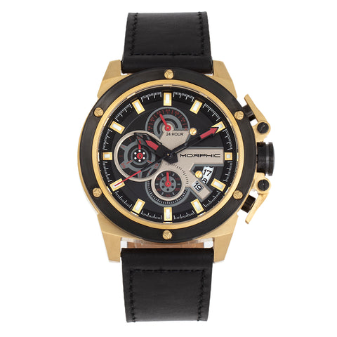 Morphic M81 Series Chronograph Leather-Band Watch w/Date - Black/Gold  - MPH8103 MPH8103