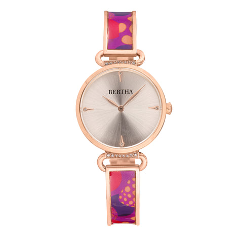 Bertha Katherine Enamel-Designed Bracelet Watch - Purple - BTHBS1305 BTHBS1305