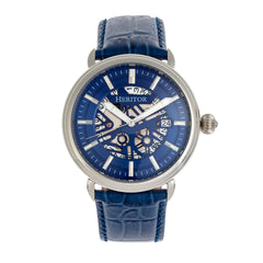 Heritor Automatic Mattias Leather-Band Watch w/Date - Silver/Blue