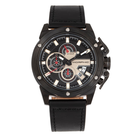 Morphic M81 Series Chronograph Leather-Band Watch w/Date - Black  - MPH8105 MPH8105