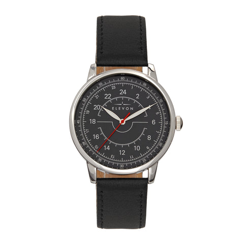 Elevon Gauge Leather-Band Watch - Silver/Black ELE122-2