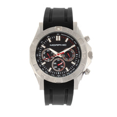 Morphic M75 Series Tachymeter Strap Watch w/Day/Date - Silver/Black