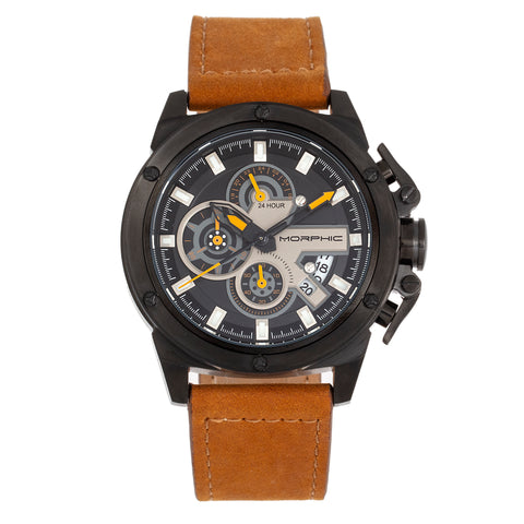 Morphic M81 Series Chronograph Leather-Band Watch w/Date - Camel/Black  - MPH8106 MPH8106