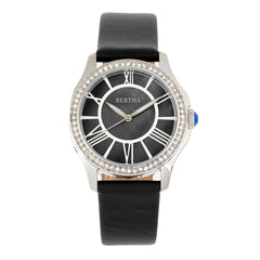 Bertha Donna Mother-Of-Pearl Leather-Band Watch - Black