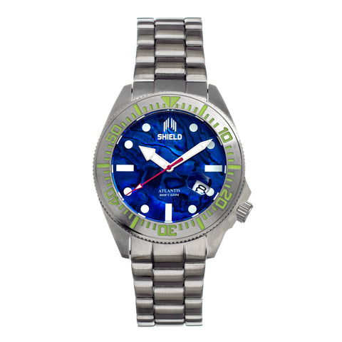 Shield Atlantis Abalone Bracelet Watch w/Date - Blue SLDSH108-5