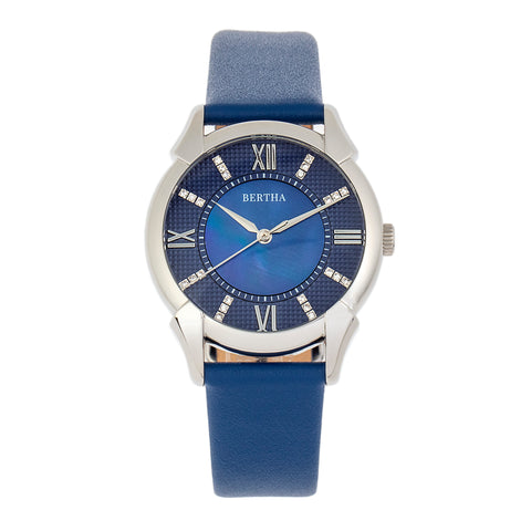 Bertha Ida Mother-of-Pearl Leather-Band Watch - Blue - BTHBS1202 BTHBS1202