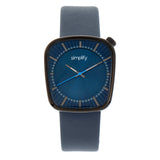 Simplify The 6800 Leather-Band Watch - Black/Navy SIM6806
