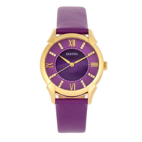 Bertha Ida Mother-of-Pearl Leather-Band Watch - Purple - BTHBS1204 BTHBS1204